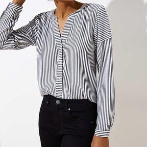 Loft Stripe Split Neck Long Sleeve Blouse